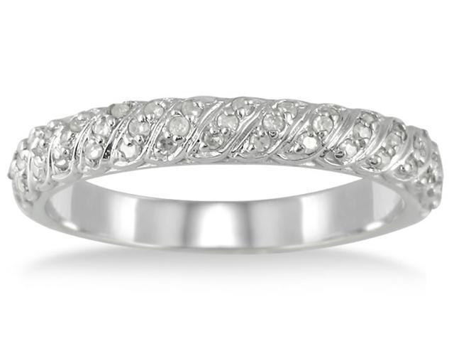 1/4 Carat Diamond Wedding Band Ring in 10K White Gold