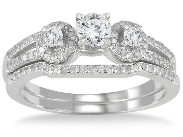 3/4 Carat Diamond Bridal Set in 10K White Gold