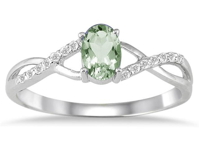 GreenAmethyst and Diamond Twist Ring in 10K White Gold