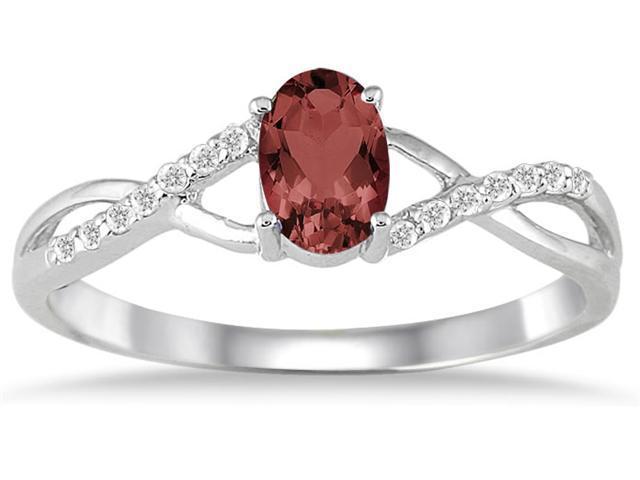Garnet and Diamond Twist Ring in 10K White Gold
