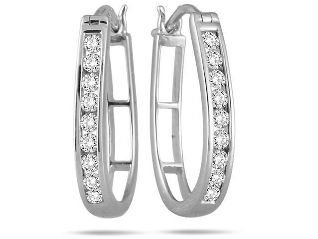 1/2 Carat Diamond Hoop Earrings in 10k White Gold