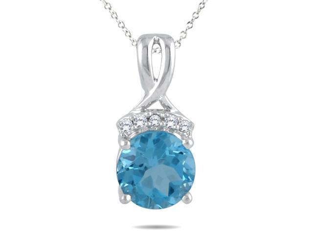 3.00 Carat Blue Topaz and Diamond Pendant in .925 Sterling