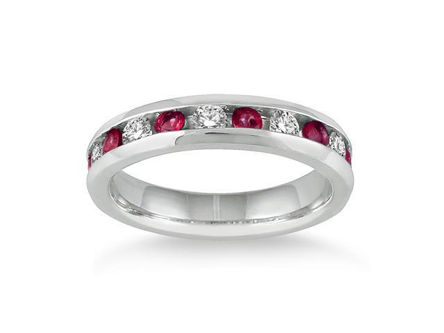3/4 Carat Ruby and Diamond Band in 14k White Gold