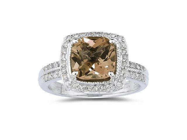2.50 Carat Cushion Cut Smokey Quartz & Diamond Ring in 14K White Gold