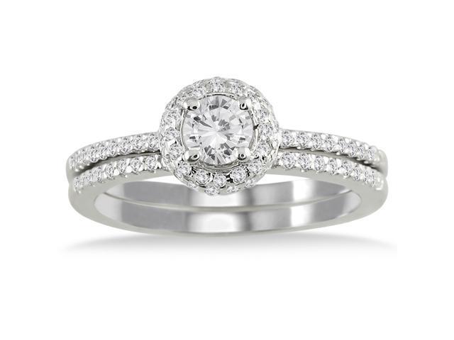 5/8 Carat Diamond Halo Bridal Set in 10K White Gold