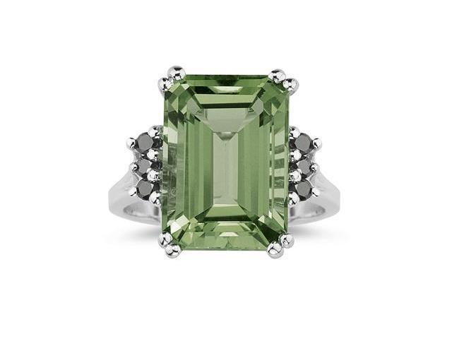 emerald cut green amethyst and black ring 10k