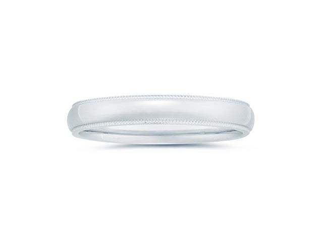 4 mm Milgrain Edge Comfort-Fit Wedding Band in 14k White Gold