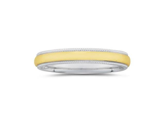 4 mm Two Toned White Milgrain Edge Comfort-Fit Wedding Band in 14k Two-Tone Gold