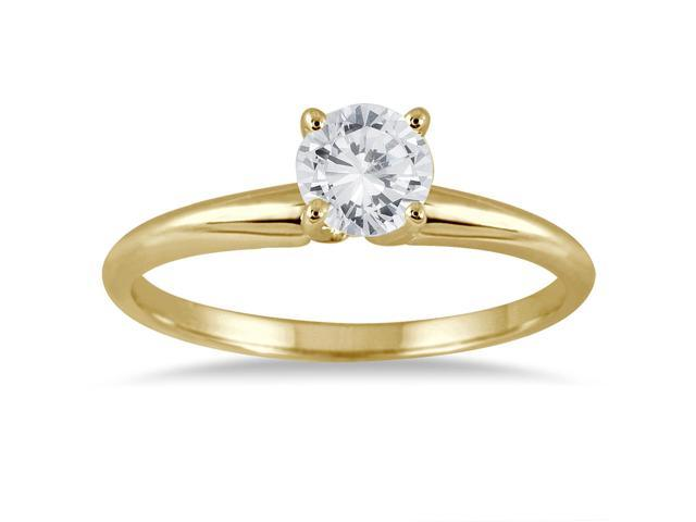 1/3 Carat Round Diamond Solitaire Ring in 14K Yellow Gold (Premium Quality)