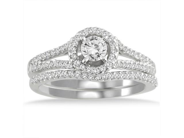 3/4 Carat Halo Diamond Bridal Set in 10K White Gold