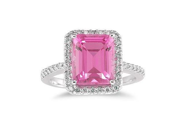 4.50 Carat Emerald Cut Pink Topaz and Diamond Ring 14K White Gold