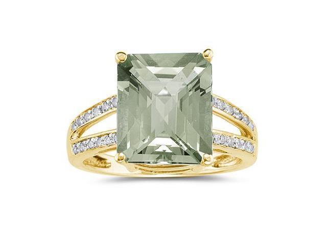Emerald  Cut  Green Amethyst   and Diamond Ring 10k Yellow  Gold
