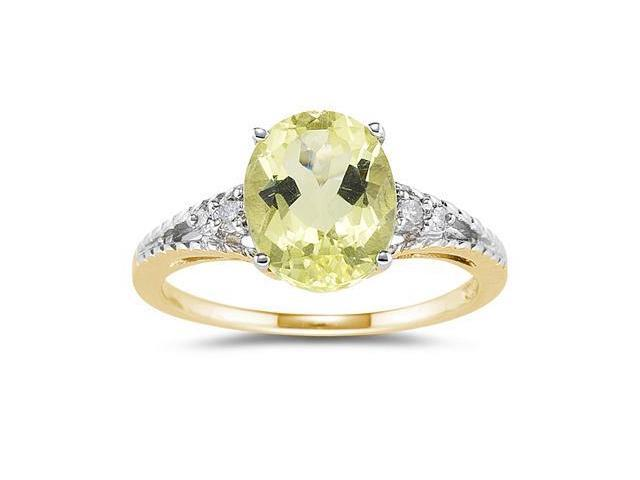 Oval Cut Lemon Quartz & Diamond Ring in Yellow Gold