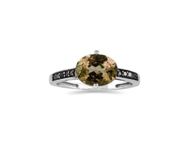Smokey Quartz  and Black Diamond Ring in 10K White Gold