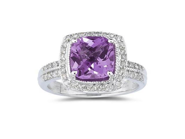 2.50 Carat Cushion Cut Amethyst & Diamond Ring in 14K White Gold