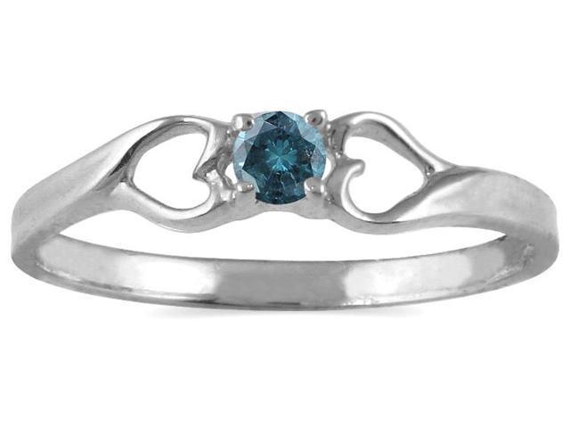 1/10 CTW Blue Diamond Heart Ring in 10K White Gold