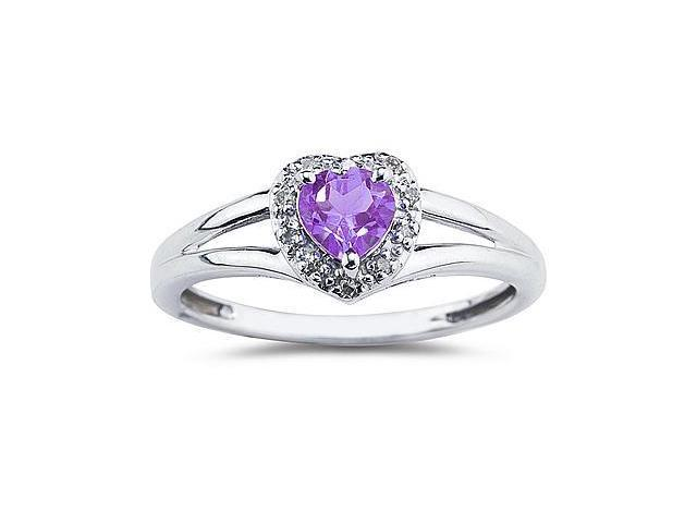 Heart Shaped Amethyst  and Diamond Ring