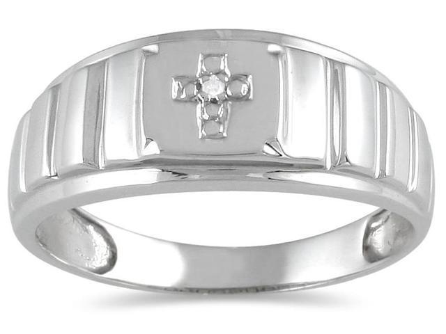 Men's Round Diamond Cross Ring in 10K White Gold