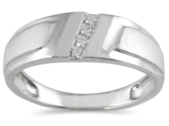 1/10 Carat TW Men's Round Diamond Ring in 10K White Gold