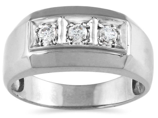 0.25 Carat Men's Three Stone Round Diamond Ring in 10K White Gold