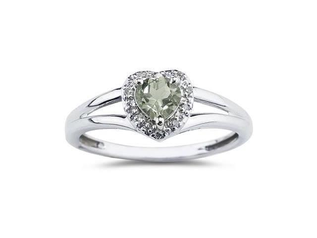 Heart Shaped Green  Amethyst  and Diamond Ring