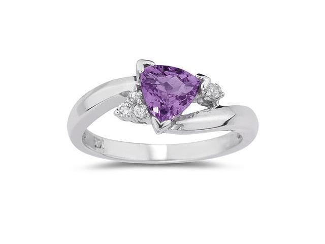 3/4 Carat Trillion Cut Amethyst  and Diamond Ring in 14K White Gold