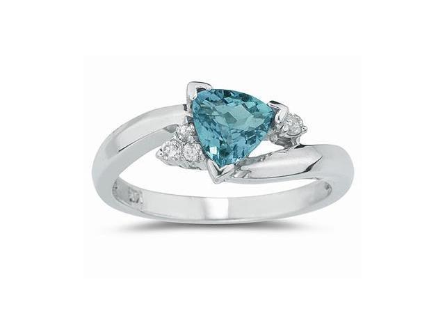 .75ct Trillion Cut Aquamarine  and Diamond Ring in 14K White Gold