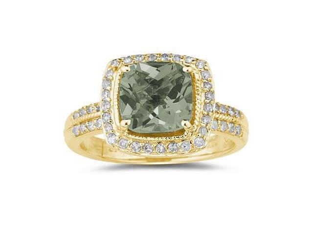 2.50 Carat Cushion Cut Green Amethyst & Diamond Ring in 14K Yellow Gold