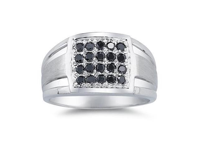 1/2 Carat Black Diamond Men's Ring in White Gold
