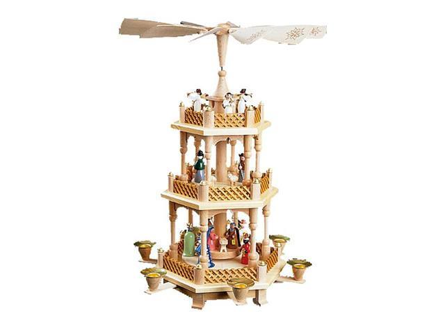 Three Tier Nativity and Angels Christmas Pyramid