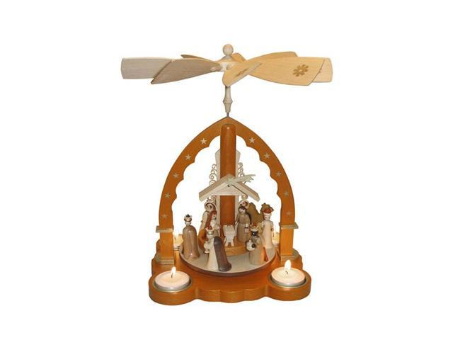 Nativity Scene Christmas Pyramid in Natural Wood