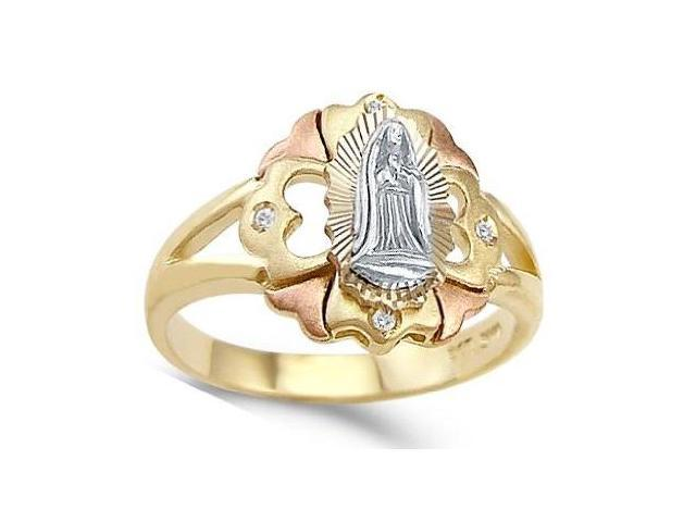 Virgin Mary Lady Guadalupe Ring Cubic Zirconia White Rose Yellow Gold
