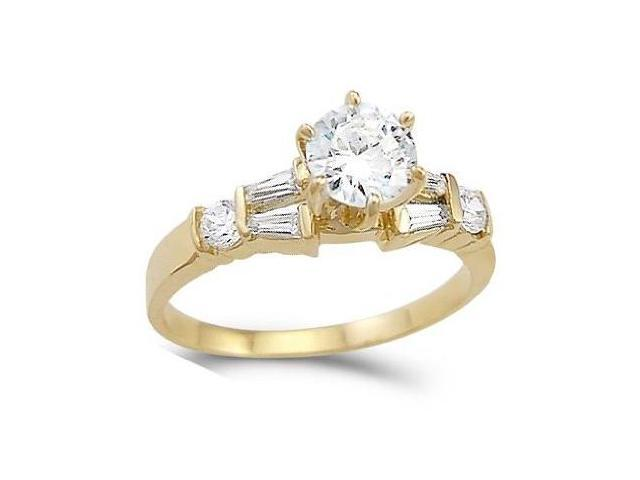 CZ Engagement Ring 14k Yellow Gold Solitaire Bridal Cubic Zirconia 1ct