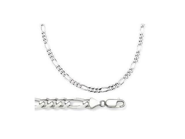 14k White Gold Solid Chain Figaro Necklace Link 3.2mm - 16 inch
