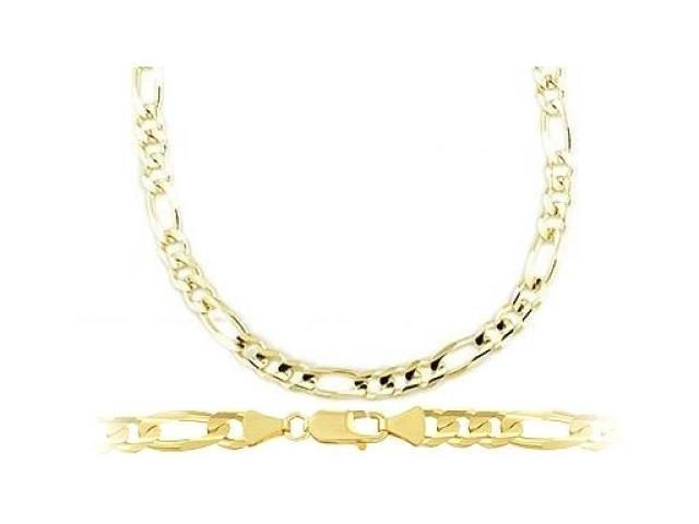 Figaro Chain 14k Yellow Gold Necklace Solid Links 4mm - 18 inch