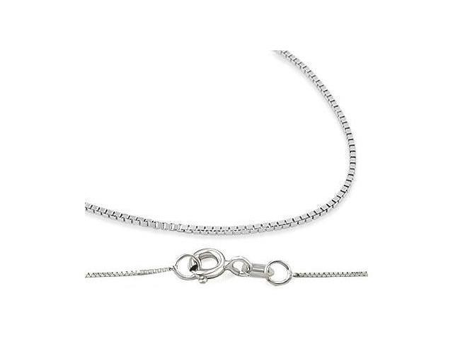14k Solid White Gold Necklace Box Chain .8mm - 16 inch