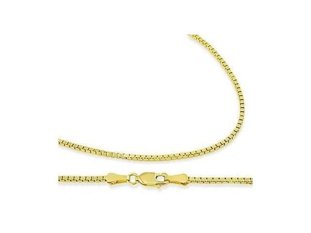 14k Yellow Gold Box Chain Solid Necklace 1mm - 16 inch