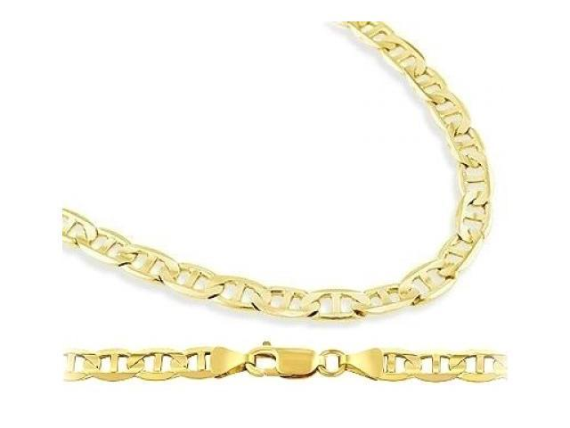 Solid 14k Yellow Gold Mariner Chain Link Necklace 4.3mm - 18 inch