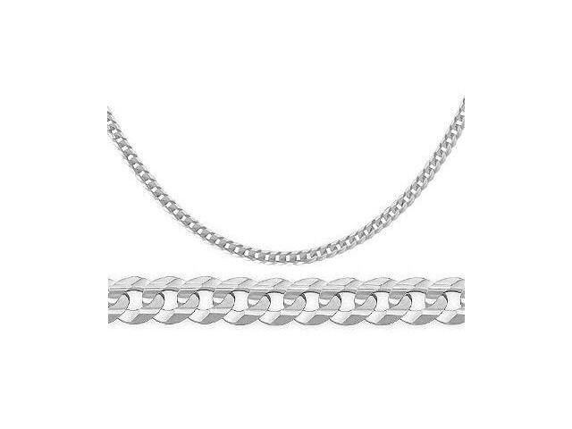 Curb Link Cuban Necklace 14k White Gold Solid Chain 3.2 mm - 18 inch