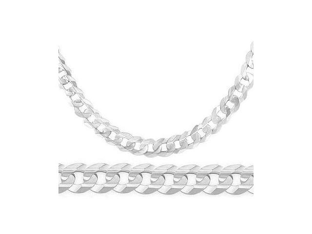 Heavy Necklace 14K White Gold Cuban Curb Link Chain Solid 7.1mm - 22 inch