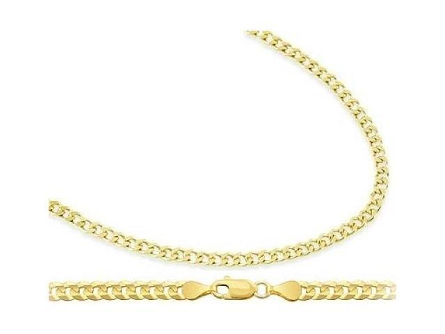 14k Yellow Gold Cuban Chain Curb Necklace Link Solid 2.4mm - 20 inch