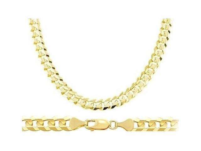 14k Yellow Gold Cuban Curb Chain Solid Heavy Necklace Mens Link 8.1mm - 26 inch