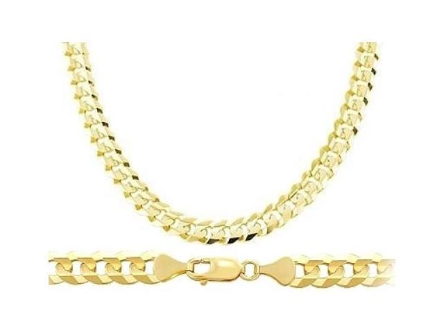 Heavy 14k Yellow Gold Chain Cuban Curb Necklace Solid Link Mens 7.1mm - 26 inch