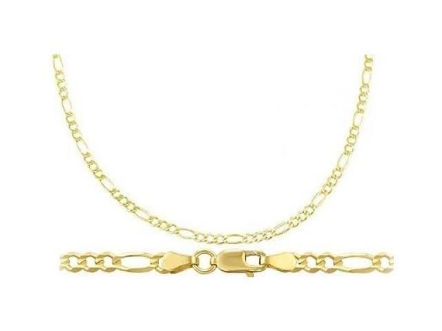 Solid 14k Yellow Gold Figaro Necklace Links Chain 2.5mm - 22 inch
