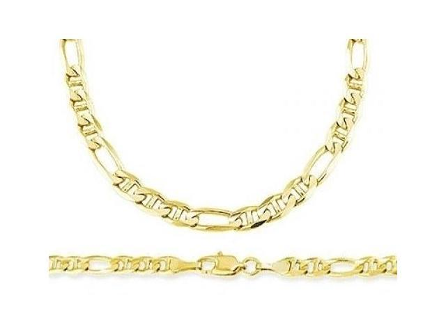 14k Yellow Gold Figaro Necklace Figarucci Chain Solid Link 6mm - 24 inch