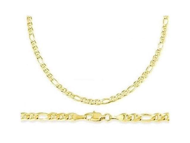 Figaro Necklace 14k Yellow Gold Figarucci Chain Solid Link 2.6mm - 22 inch