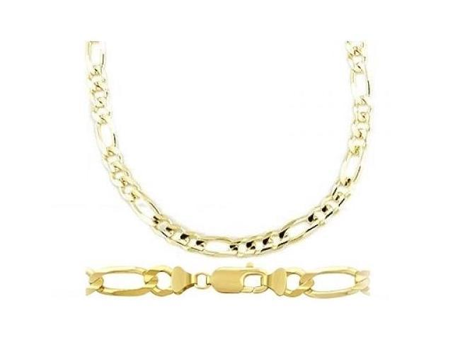 Figaro Chain 14k Solid Yellow Gold Necklace Mens Link 7mm - 26 inch