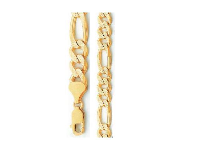 Heavy Chain 14k Yellow Gold Diamond Cut Mens Figaro Necklace 8.7mm - 24 inch