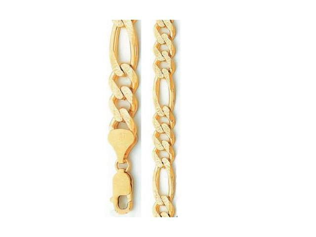 Diamond Cut Necklace 14k Yellow Gold Figaro Chain Mens Pave Link 7.1mm - 24 inch
