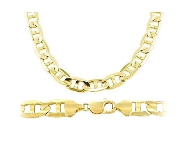 Mens Chain 14k Yellow Gold Necklace Solid Mariner Link Large 7.7mm - 22 inch